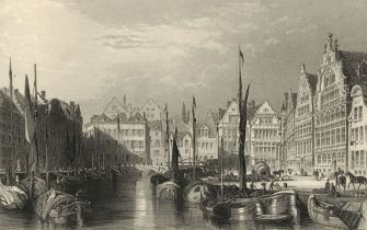 Gent 1879 gravure boten in de haven