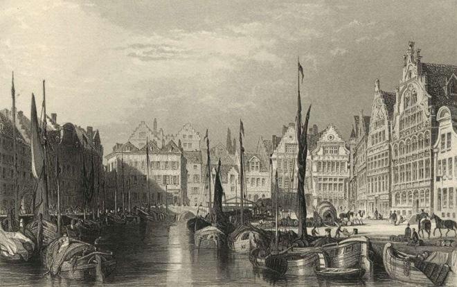 Gent 1879 gravure boten in de haven