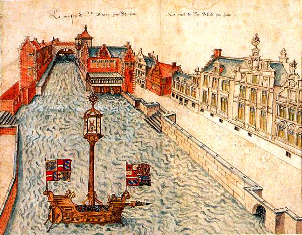 GentDe Reep met zicht op de Braemsluis, -poort en –molensaquarellievenvanderschelden1584